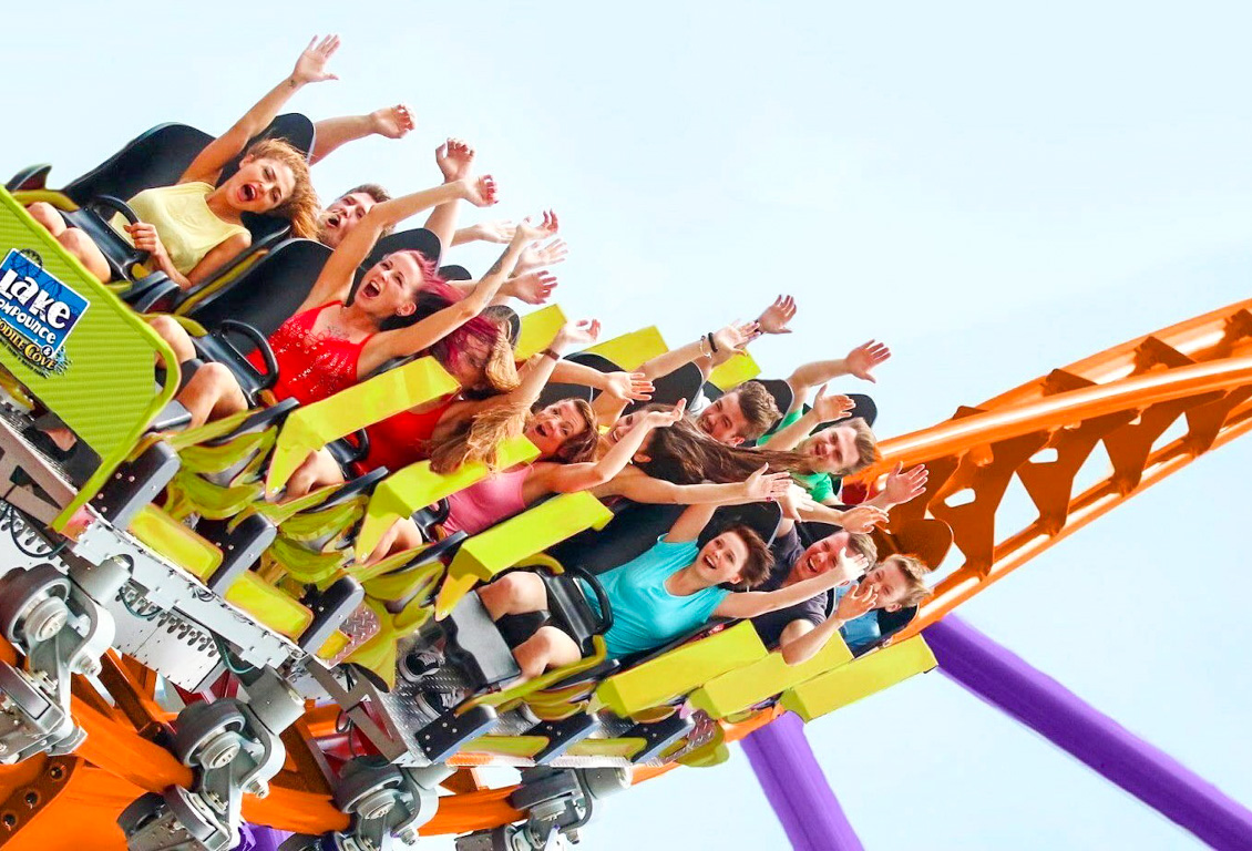 People riding Lake Compounce rollercoaster